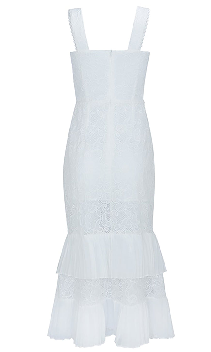 Spring Time White Sheer Mesh Lace Sleeveless Square Neck Rhinestone Button Pleated Mermaid Bodycon Midi Dress