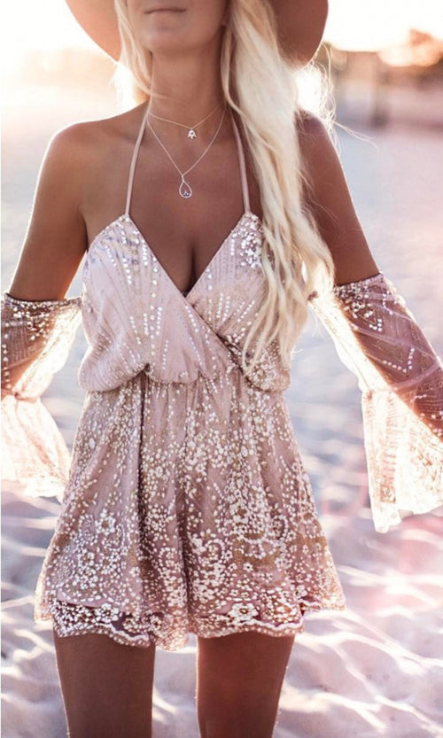 Ready To Dazzle Gold Sequin Sheer Mesh Halter 3/4 Sleeve Off The Shoulder V Neck Romper Jumpsuit