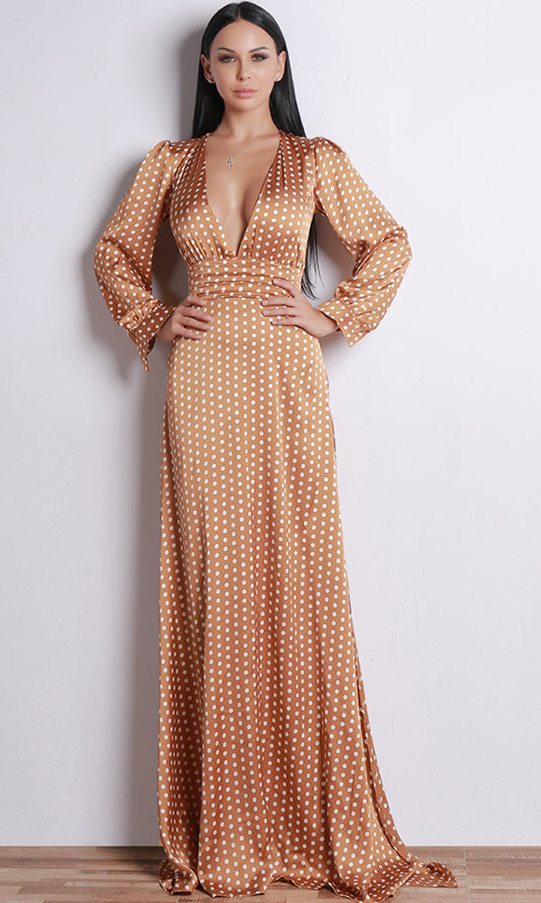 Love Is Possible Brown Polka Dot Pattern Long Sleeve Plunge V Neck Side Slit Casual Maxi Dress