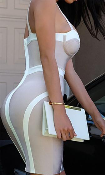 Nothing To It Beige White Sleeveless Bustier Sweetheart Neck Bandage Bodycon Mini Dress - Sold Out