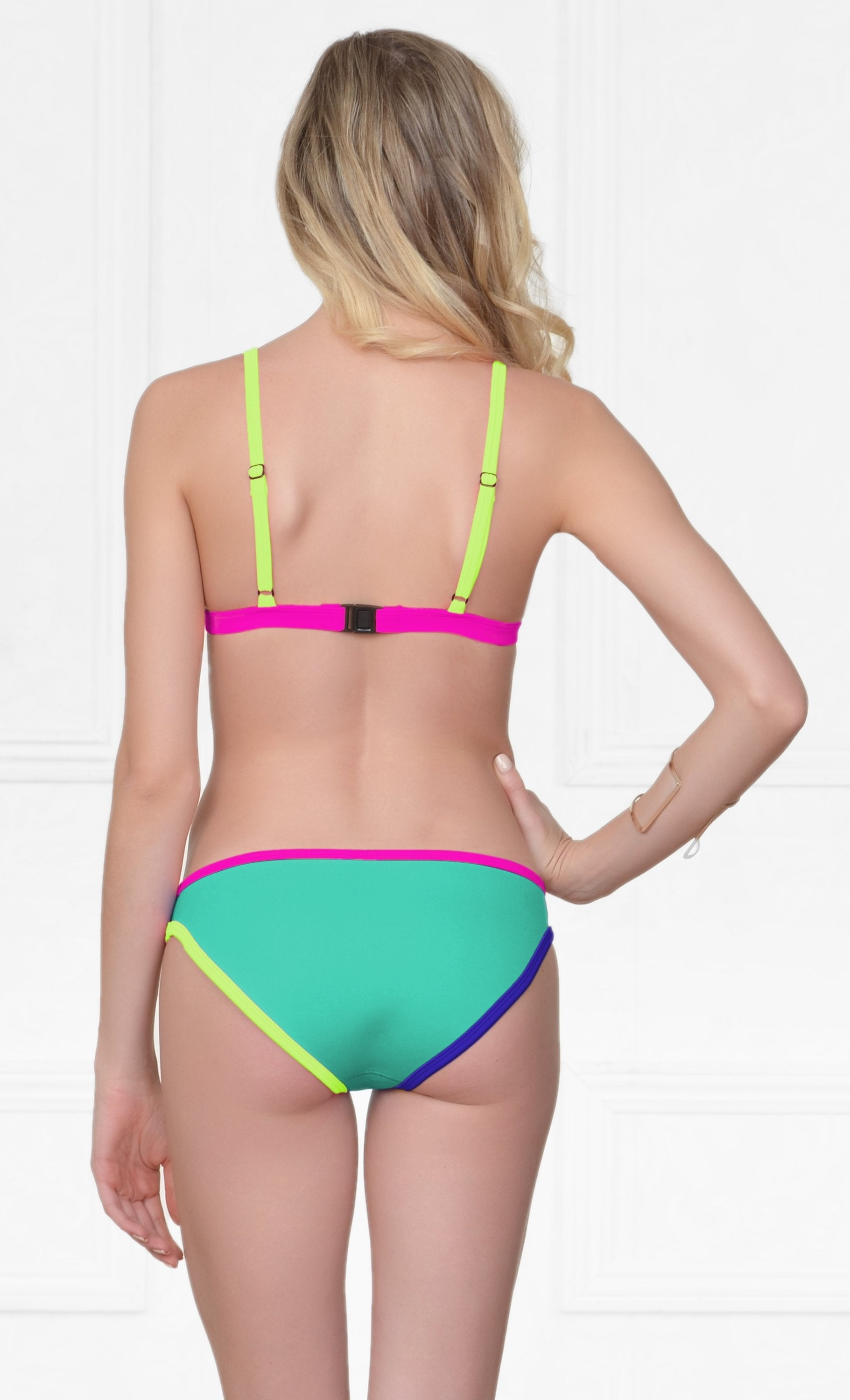 Indie XO Horseshoe Bay Neoprene Mint Green Blue Yellow Pink Spaghetti Strap Triangle Top Hipster Brief Two Piece Bikini Swimsuit Set