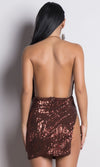 High Speed Black Sequin Sleeveless Spaghetti Strap Backless Halter Cowl Neck Mini Dress - 3 Colors Available