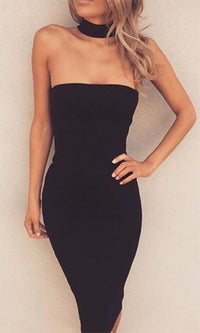 Magical Mystery Black Strapless Choker Collar Bodycon Midi Dress - Sold Out