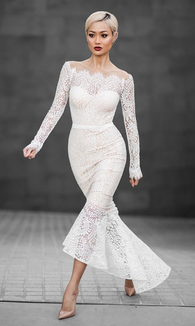 Forever Together White Beige Scalloped Lace Sheer Long Sleeve Off The  Shoulder Fabric Belt Fishtail Midi e0d2b7b6f027