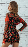 Breaking Away Black Red Rose Floral Pattern Sheer Mesh Long Sleeve Mock Neck Fringe Bodycon Mini Dress - Sold Out