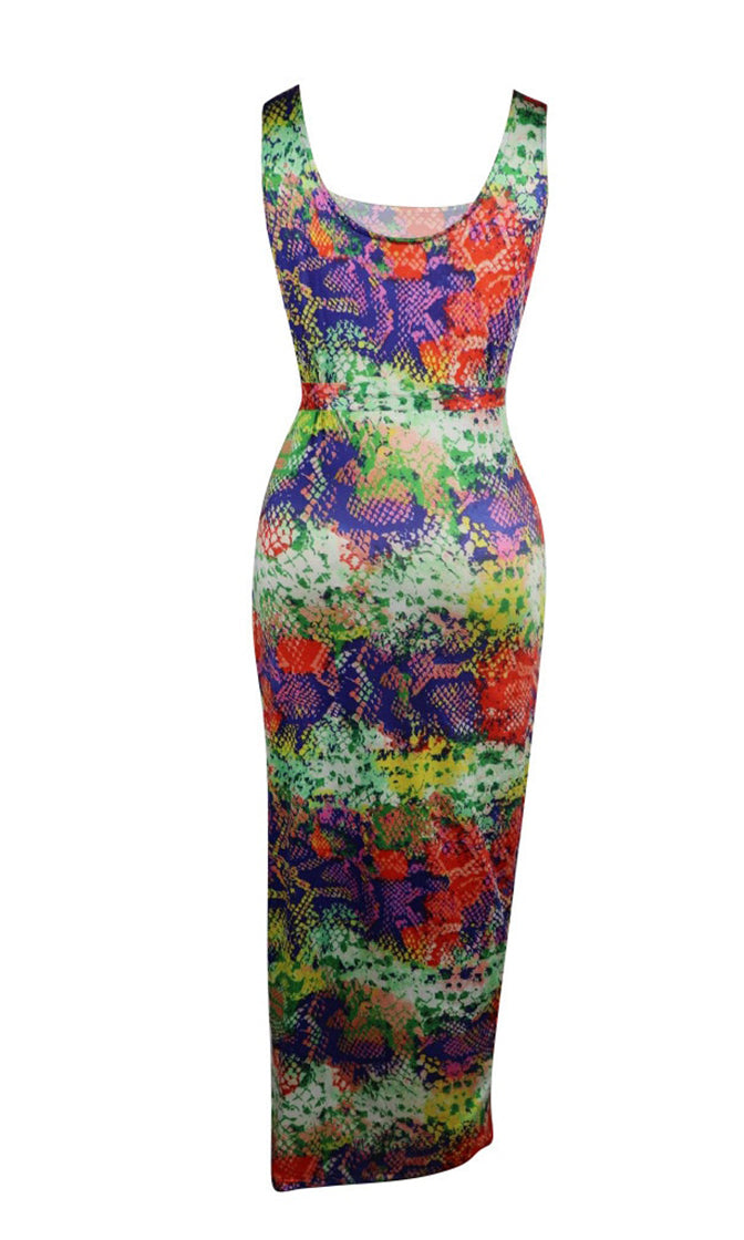 Performing Miracles Multicolor Snake Print Animal Pattern Sleeveless Scoop Neck Tie Belt Side Slit Casual Maxi Dress