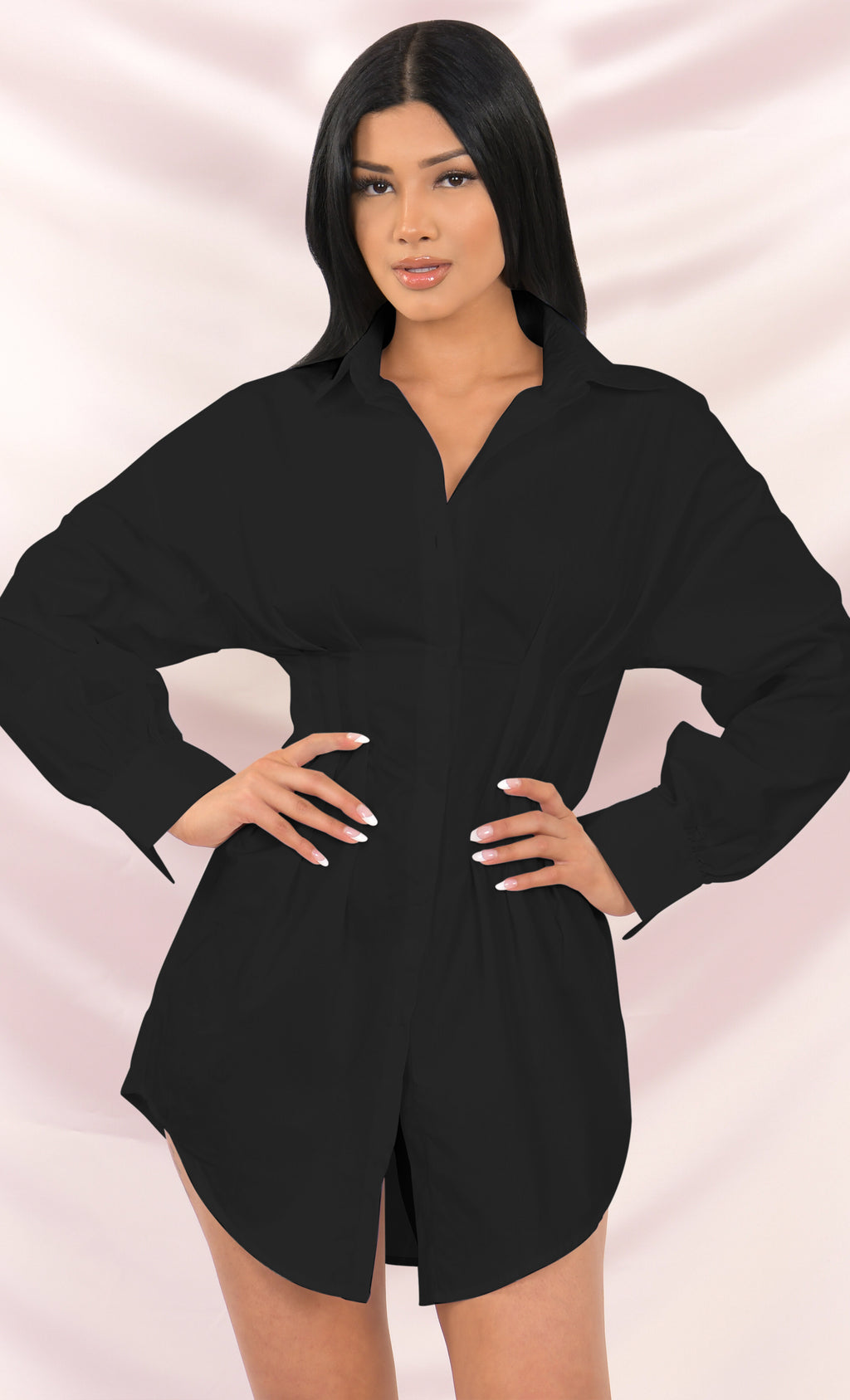 Board Meeting Black Long Puff Sleeve Button Front Cinched Waist Mini Shirt Dress - 2 Colors Available