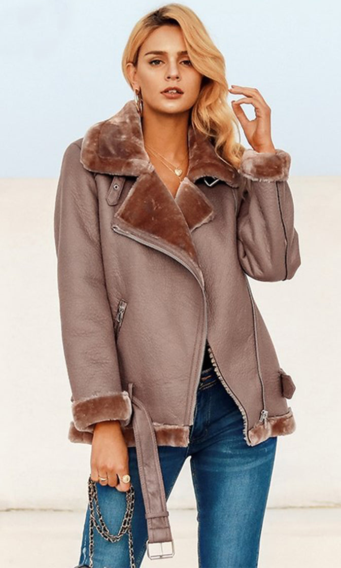 Warm Fuzzy Feelings PU Faux Leather Faux Fur Long Sleeve Asymmetric Zipper Motorcycle Coat Outerwear - 2 Colors Available