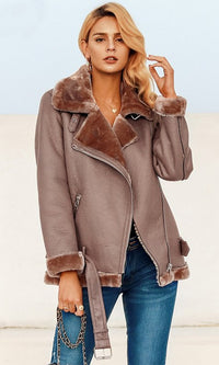 Warm Fuzzy Feelings PU Faux Leather Faux Fur Long Sleeve Asymmetric Zipper Motorcycle Coat Outerwear - 2 Colors Available - Sold Out