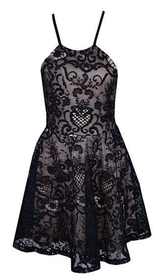 Tied Together Black Puff Lace Spaghetti Strap Halter Corset Back Skater Circle A Line Flare Mini Dress - Sold Out