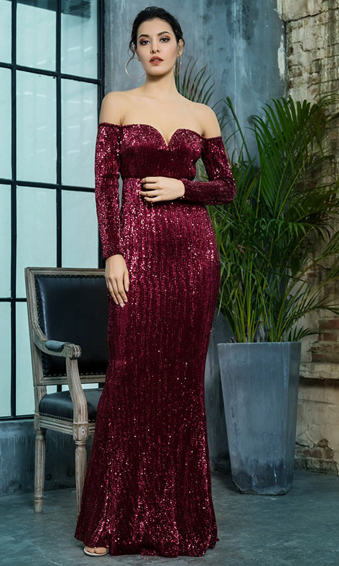 68a5ebb5904 Midnight Memories Wine Red Sequin Long Sleeve Off The Shoulder V Neck  Trumpet Maxi Dress