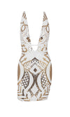 Shining Bright White Gold Sequin Geometric Pattern Sleeveless Halter Backless Plunge V Neck Bodycon Mini Dress - Sold Out
