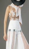 Under Your Spell Sheer Mesh Lace Sleeveless Chiffon Bow Neck Blouse Top - 2 Colors Available - Sold Out