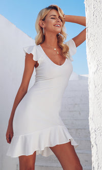 Frequent Flyer White Ruffle Sleeve V Neck Backless Lace Up Bodycon Mini Dress - Sold Out