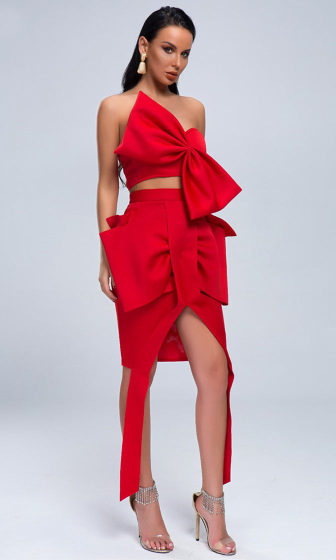 Last Dance Red Strapless Bow Crop Top Bow Bodycon Two Piece Midi Dress