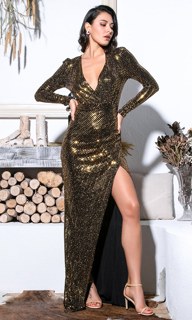 Close Encounters Black Gold Sequin Long Puff Sleeve Cross Wrap V Neck High Slit Maxi Dress