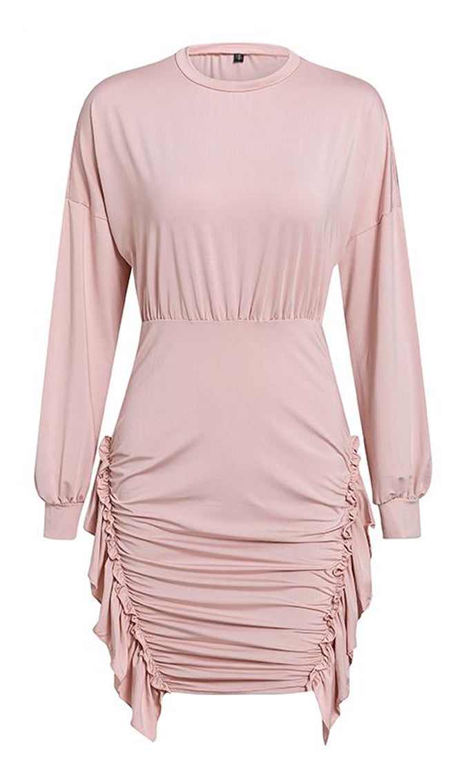 Tear In My Heart Long Sleeve Round Neck Shirred Ruched Ruffle Bodycon Mini Dress - 4 Colors Available