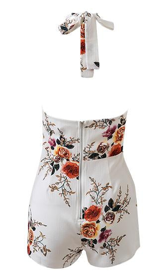 Flower Child Floral Sleeveless Halter Tie Neck Pleated Romper Playsuit - 2 Colors Available