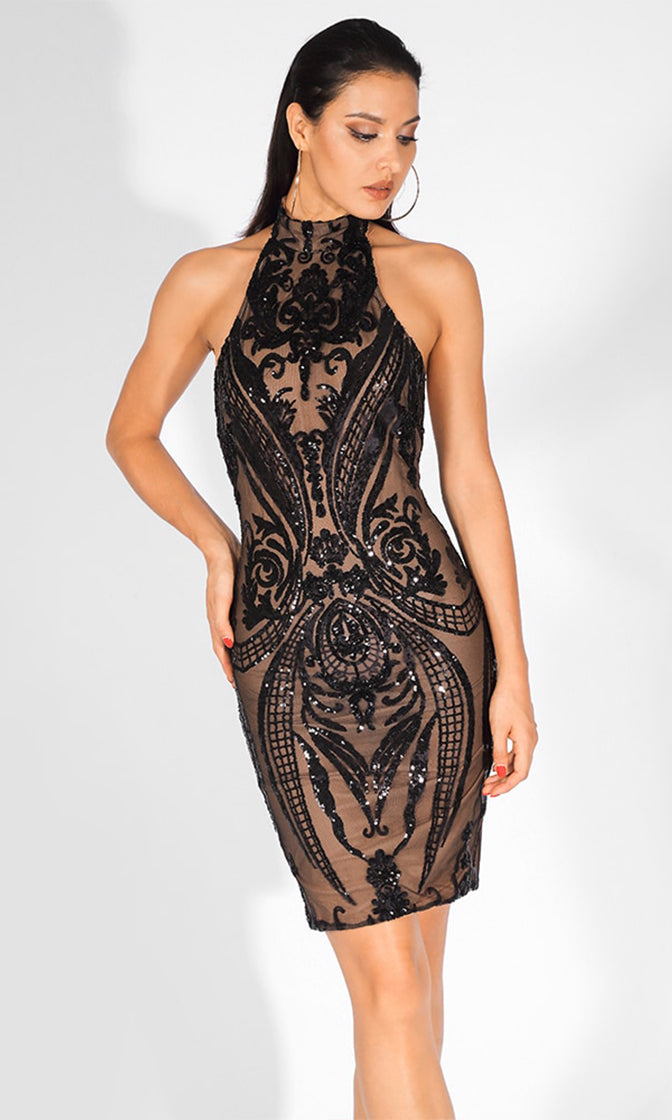 Midnight Glow Black Sheer Mesh Sequin Geometric Pattern Sleeveless Halter Mock Neck Bodycon Mini Dress