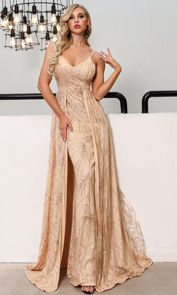 Head Table Beige Gold Glitter Floral Pattern Sleeveless Spaghetti Strap V Neck Overlay A Line Maxi Dress