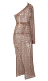Having It My Way Rose Gold One Shoulder Long Sleeve Sheer Mesh Cut Out High Slit Casual Maxi Dress