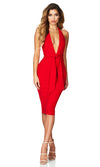 You're My Person Red Sleeveless Backless Plunge V Neck Halter Tie Waist Bodycon Bandage Midi Dress