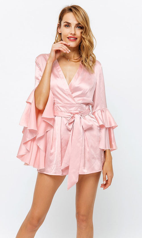 Wrap Me Up Satin Long Bell Ruffle Sleeve Cross Wrap V Neck Sash Belt Romper Playsuit - 2 Colors Available