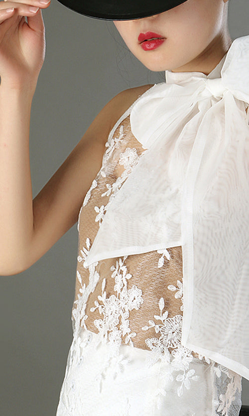 Under My Spell Sheer Mesh Lace Sleeveless Chiffon Bow Neck Blouse Top - 2 Colors Available