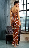 Control Freak Brown White Polka Dot Pattern Sleeveless Spaghetti Strap Square Neck Cut Out Back Bow Wide Leg Loose Jumpsuit
