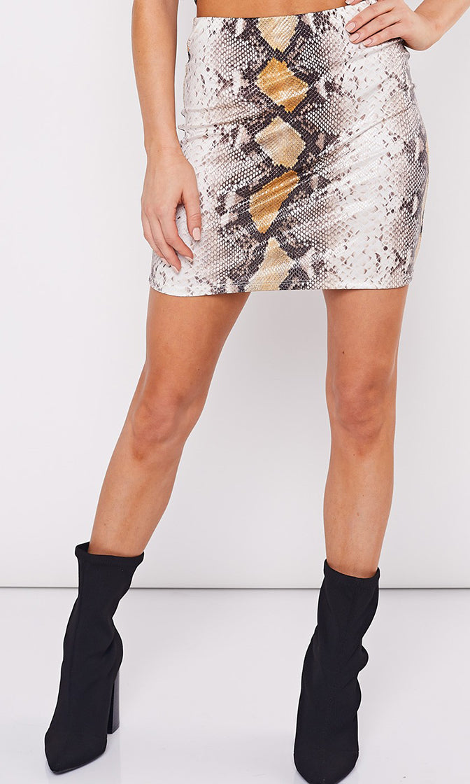 Viper Room Snake Print Animal Pattern Stretch Bodycon Mini Skirt - 2 Colors Available - Sold Out