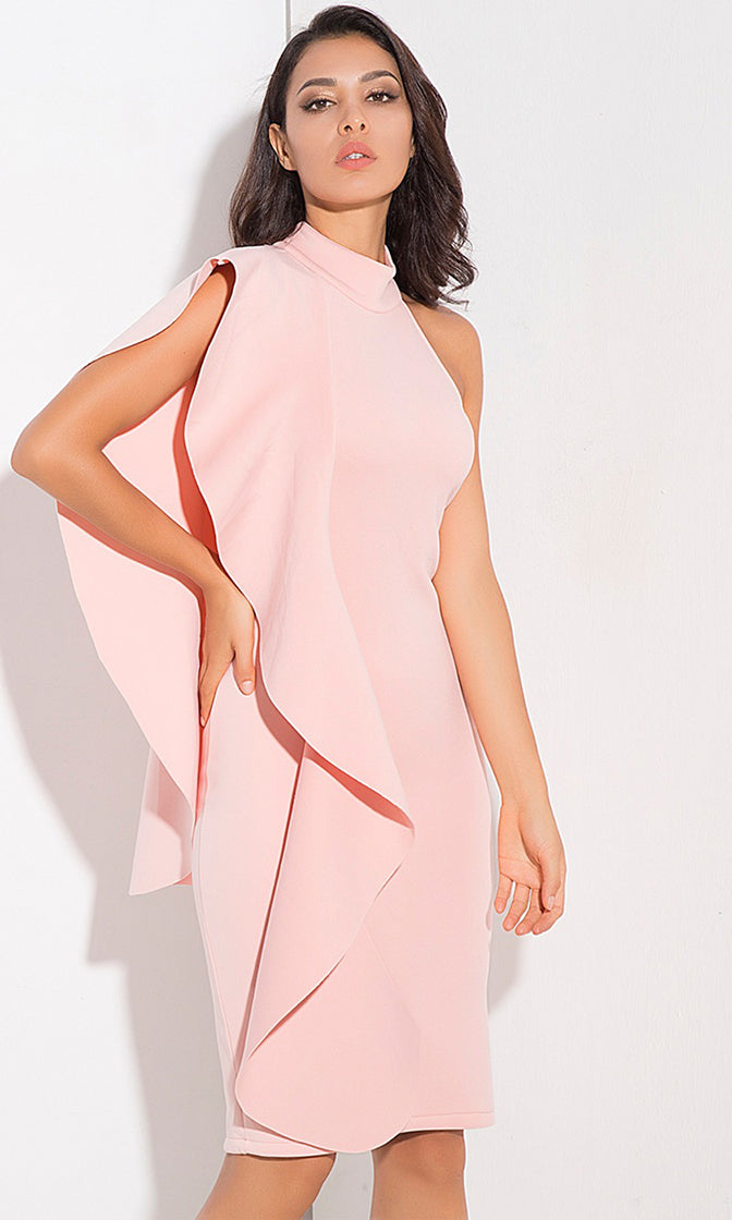 Petals Of Perfection Pink Sleeveless Mock Ruffle Asymmetric Ruffle Bodycon Casual Midi Dress