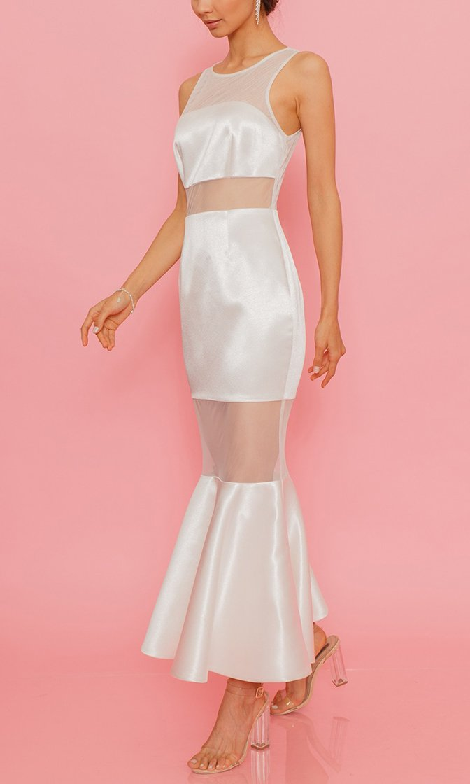 Royal Highness White Sheer Mesh Satin Sleeveless Crew Neck Flare Maxi Dress - Sold Out