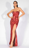 Mystic Lover Red Sequin Geometric Pattern Strapless High Slit Maxi Dress