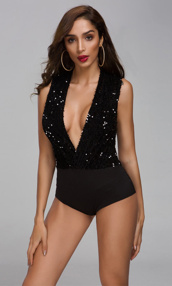 After Work Black Sequin Sleeveless Plunge V Neck Bodysuit Top