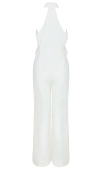 Take It To The Top White Sleeveless Halter Plunge V Neck Button Wide Leg Loose Jumpsuit - Sold Out