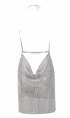 Hollywood Hottie Rhinestone Metal Chain Sleeveless Backless Halter V-Neck Mini Dress - 2 Colors Available - Sold Out