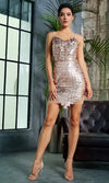 Crying In The Club Gold Sequin Square Geometric Pattern Sheer Mesh Trim Sleeveless Spaghetti Strap V Neck Bodycon Mini Dress