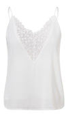 Show Some Class White Chiffon Sheer Mesh Floral Pattern Sleeveless Spaghetti Strap V Neck Camisole Blouse Tank Top