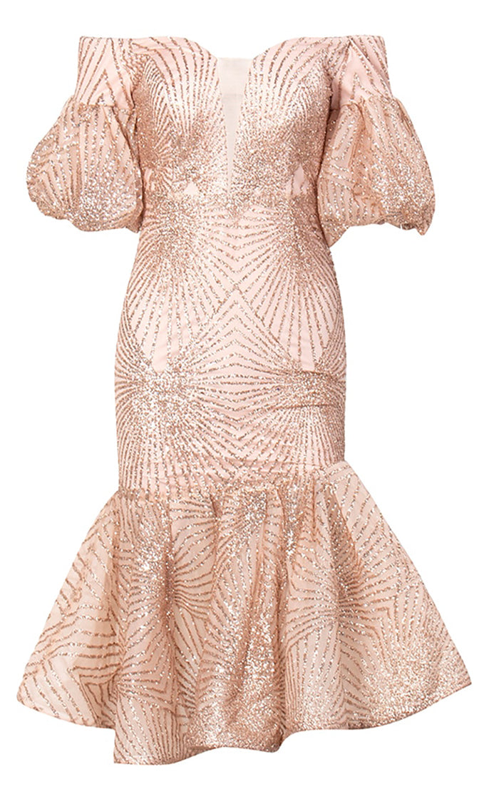 Midnight Madness Beige Rose Gold Glitter Geometric Pattern Short Puff Sleeves Off The Shoulder Ruffle Hem Bodycon Midi Dress