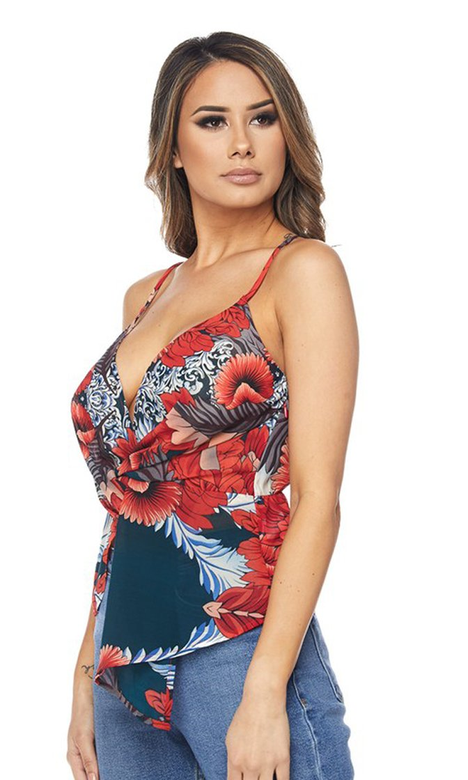 Waiting For You Floral Pattern Sleeveless Spaghetti Strap Twist Wrap V Neck Tank Top - 3 Colors Available - Sold Out