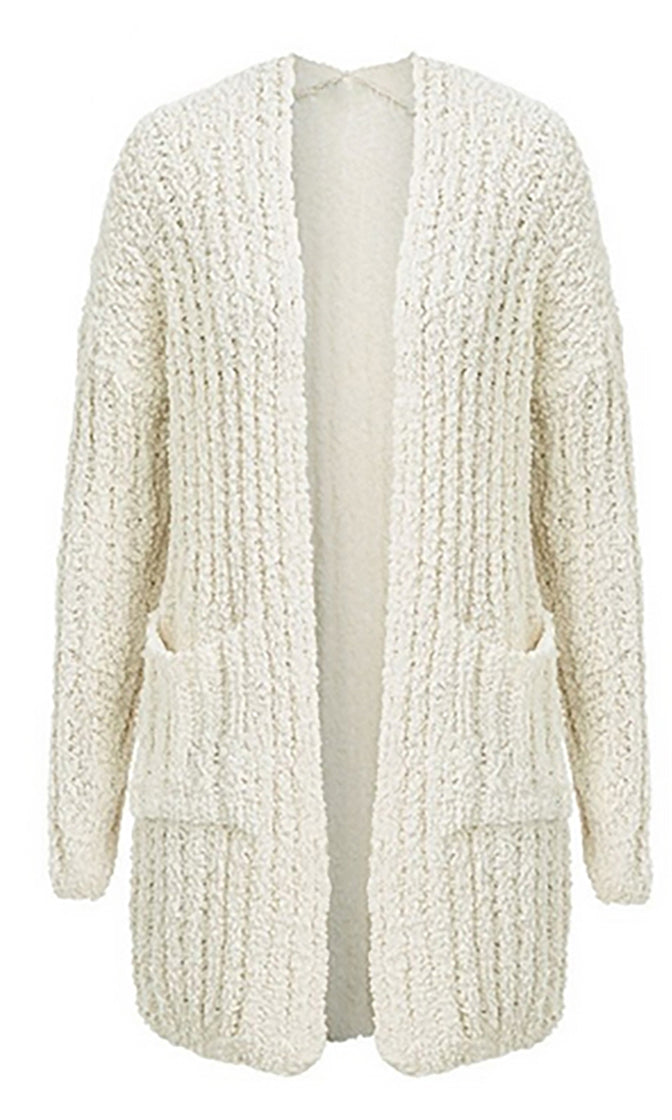 Topping It Off Long Sleeve Open Front Chunky Ribbed Pocket Cardigan Sweater