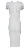 Anything For Love Sheer Lace Short Sleeve Crew Neck Bodycon Bandage Midi Dress - 2 Colors Available