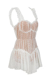 Friendly Rivalry Sheer Lace Dot Pattern Sleeveless Ruffle Sweetheart Neck Lingerie Romper Playsuit