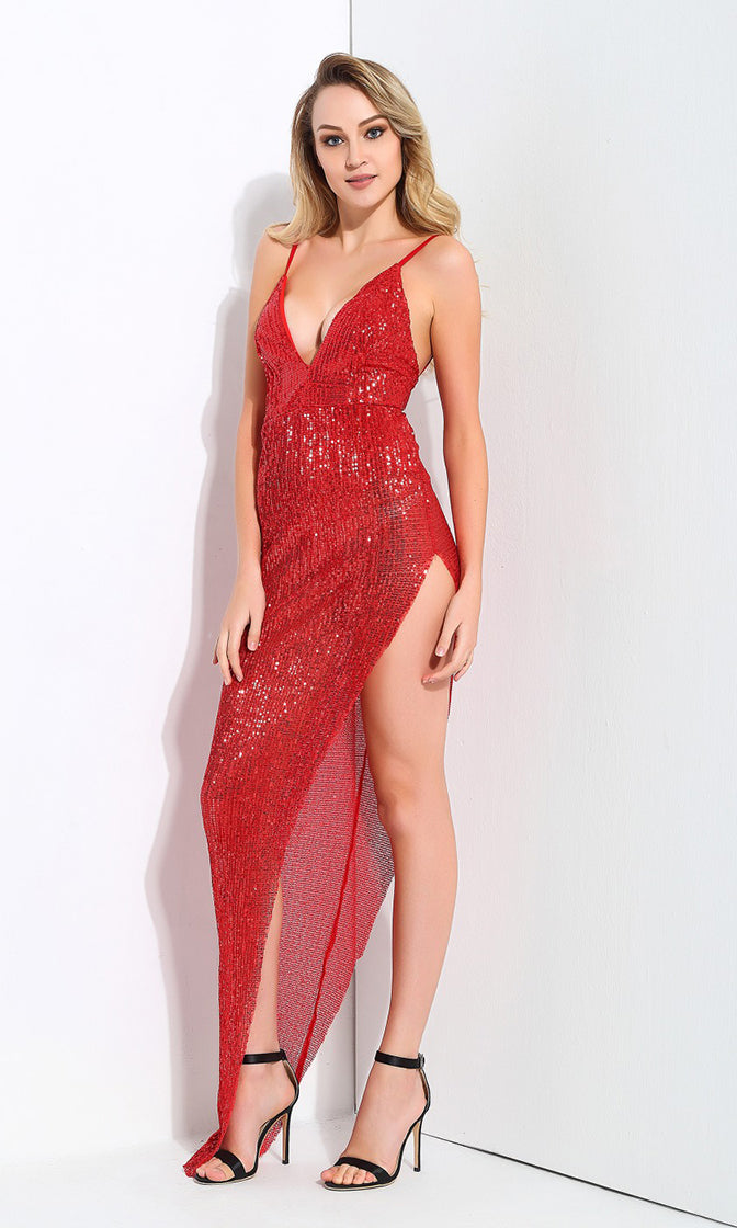 First Look Red Sequin Sleeveless Spaghetti Strap V Neck High Cut Maxi Dress