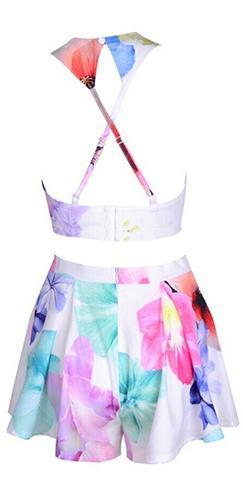 Call of the Wild White Pink Purple Blue Yellow Floral Sleeveless Scoop Neck Crop Halter Top Pleated Shorts Two Piece Romper - Sold Out