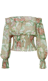 Garden Dreams Green White Floral Pattern Long Lantern Sleeve Off The Shoulder Smocked Blouse Top - Sold Out