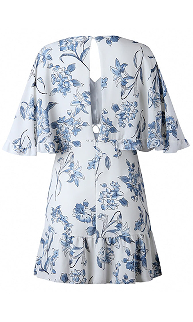 Carefree Days Floral Pattern 3/4 Flare Sleeve V Neck Ruffle Cut Out Casual Mini Dress - 2 Colors Available