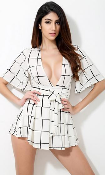 My Wild Heart White Black Geometric Plaid Short Trumpet Sleeve Plunge V Neck Tie Waist Romper Playsuit