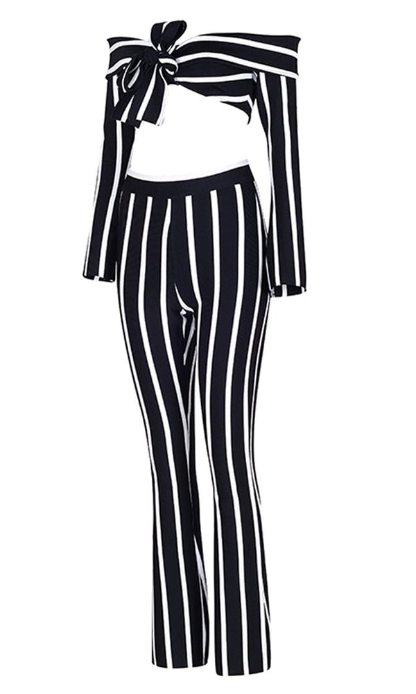 Into The Dark Black White Stripe Pattern Long Sleeve Off The Shoulder Bow Crop Top Two Piece Jumpsuit