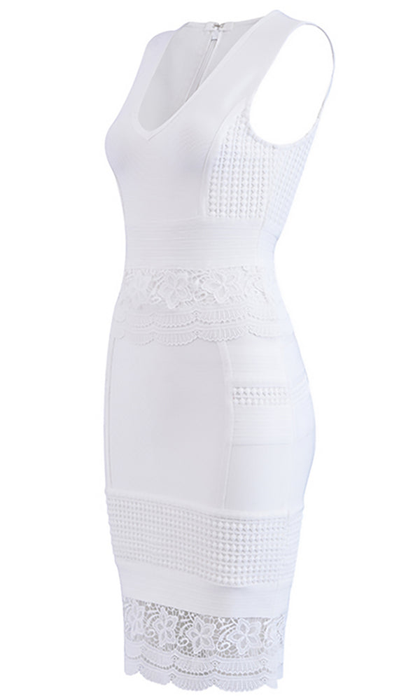 I'm Your Angel White Lace Sleeveless V Neck Bodycon Bandage Midi Dress